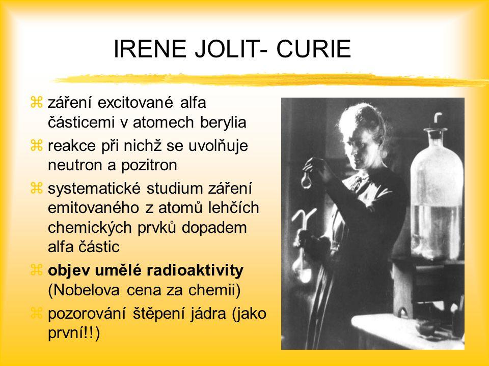 IRENE JOLIT- CURIE záření excitované alfa částicemi v atomech berylia