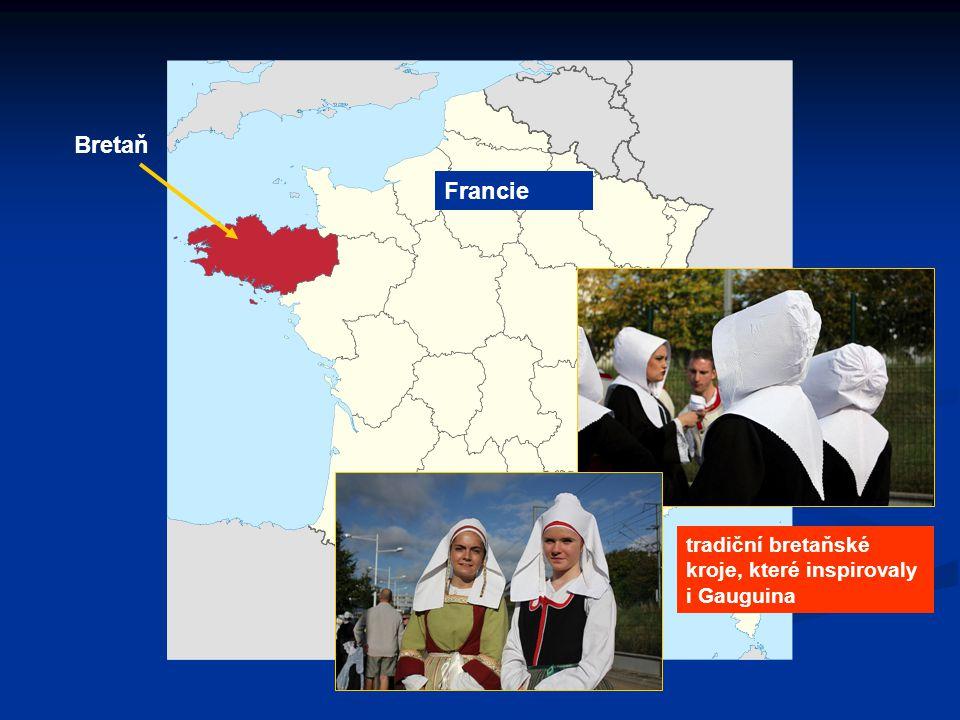 Bretaň Francie tradiční bretaňské kroje, které inspirovaly i Gauguina