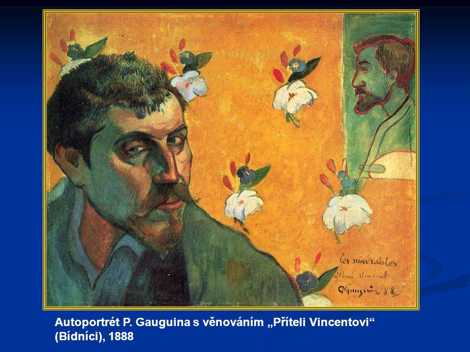 """Autoportrét P. Gauguina s věnováním """"Příteli Vincentovi (Bídníci), 1888"""