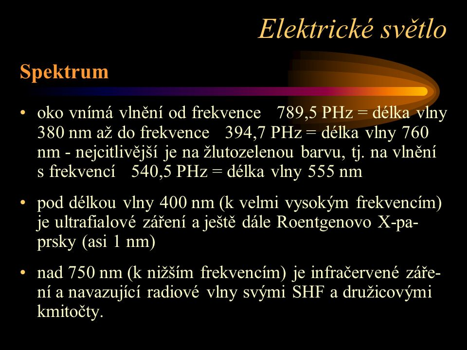 Elektrické světlo Spektrum