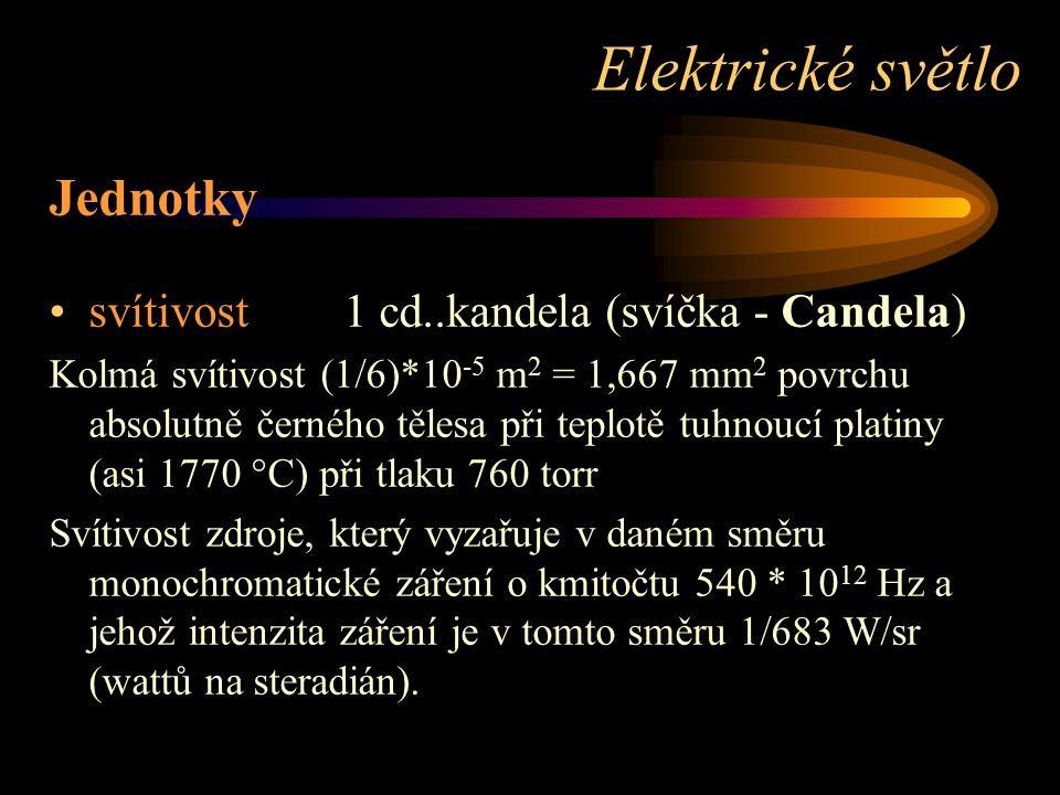 Elektrické světlo Jednotky svítivost 1 cd..kandela (svíčka - Candela)