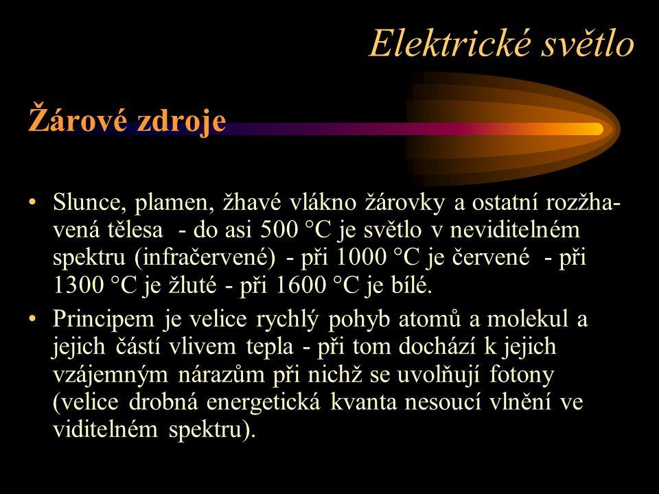 Elektrické světlo Žárové zdroje