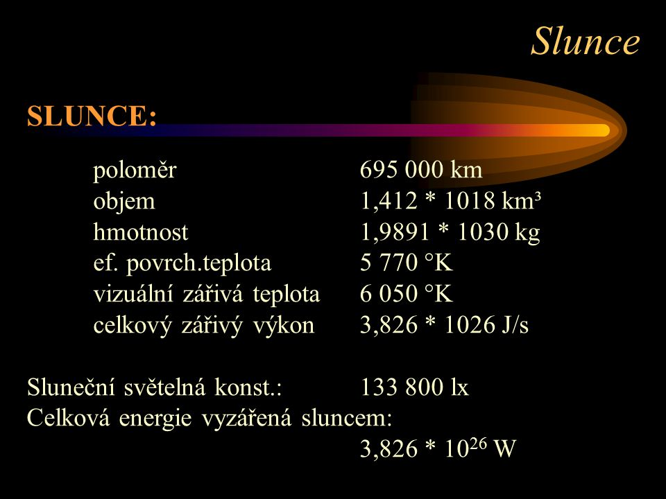 Slunce SLUNCE: objem 1,412 * 1018 km³ hmotnost 1,9891 * 1030 kg