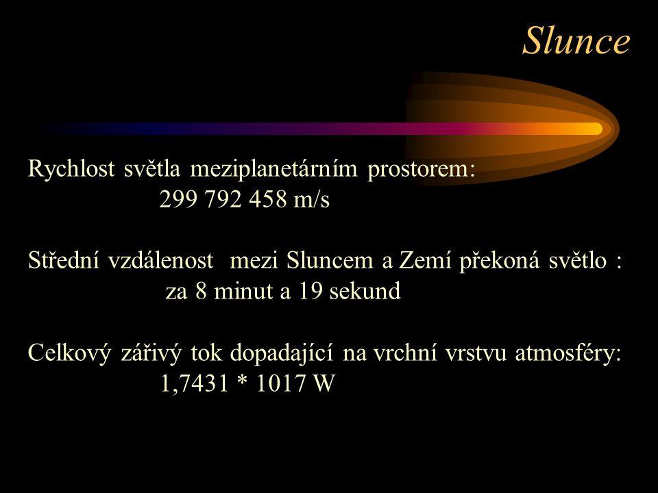 Slunce Rychlost světla meziplanetárním prostorem: 299 792 458 m/s