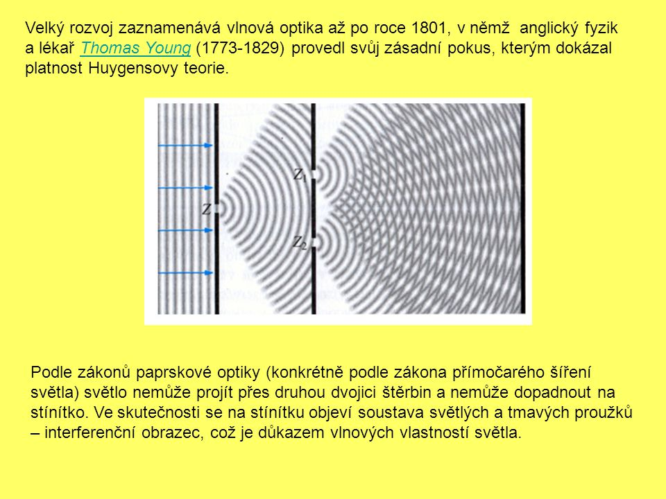 Velký rozvoj zaznamenává vlnová optika až po roce 1801, v němž anglický fyzik a lékař Thomas Young (1773-1829) provedl svůj zásadní pokus, kterým dokázal platnost Huygensovy teorie.