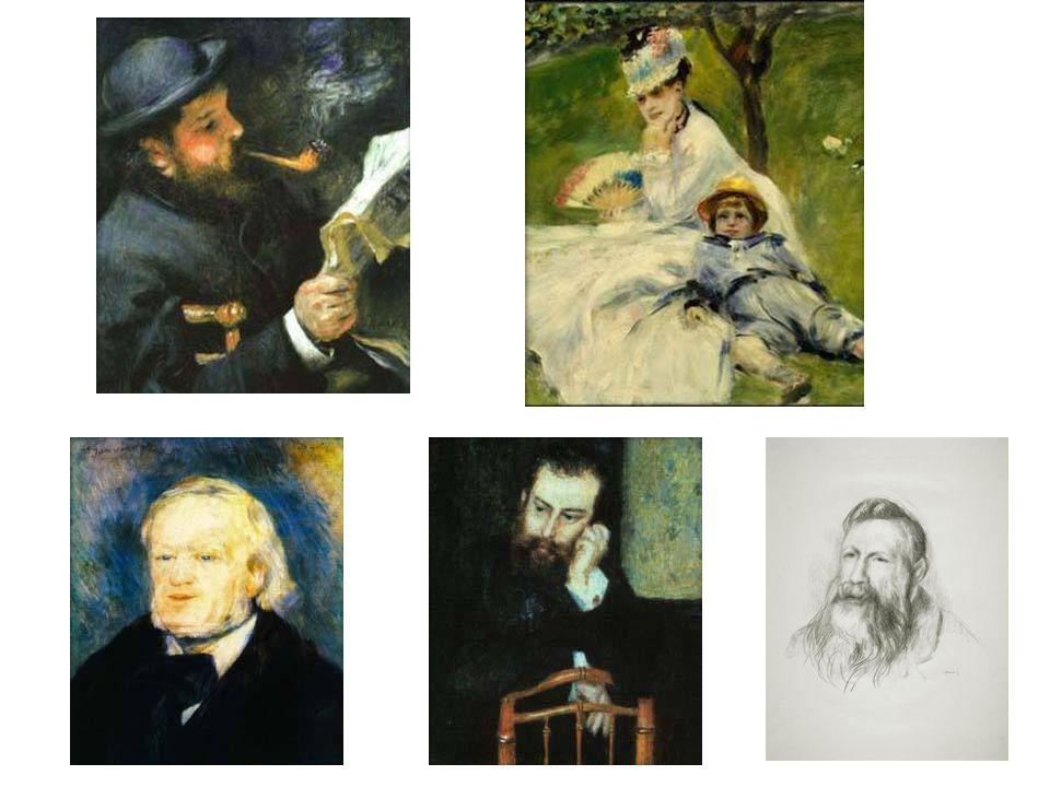 Portréty: Čtoucí Monet; Paní Monetová se synem; Richard Wagner; Alfréd Sisiey; Auguste Rodin
