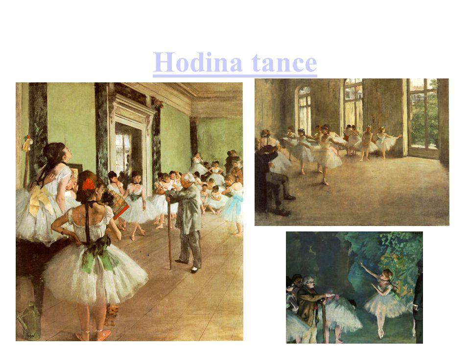 Hodina tance Odkaz na interaktivní prohlídku Hodiny tance; 2 obrazy s námětem baletních zkoušek
