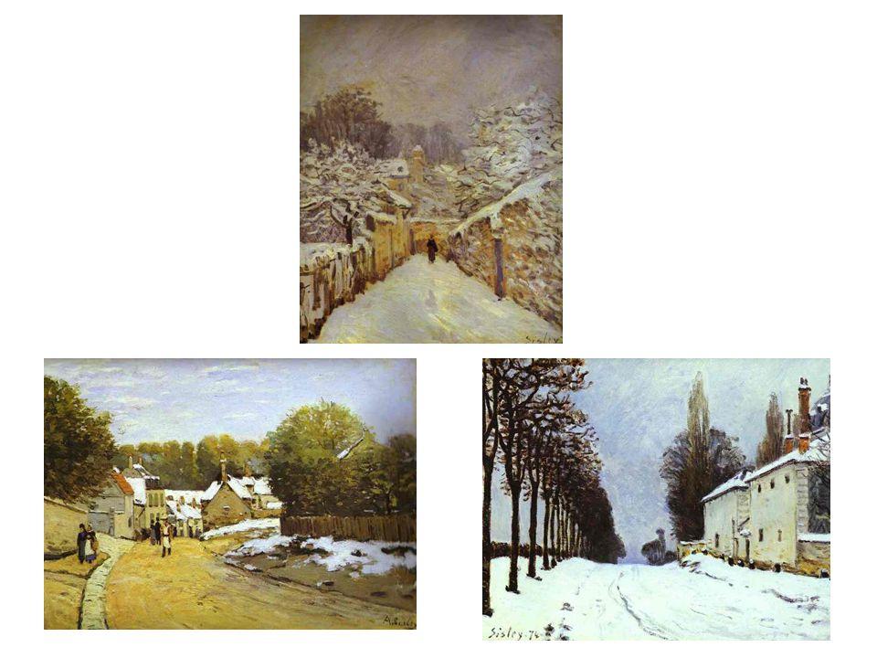 Motiv: sníh v Louvenciennes: vlevo dole: První sníh v Louvenciennes, pak 2x Sníh v Louvenciennes