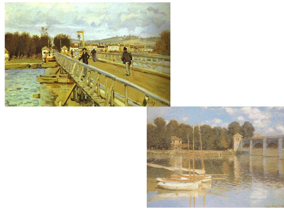 Most pro pěší v Argenteuil; pro srovnání ještě Monetův most v Argenteuil