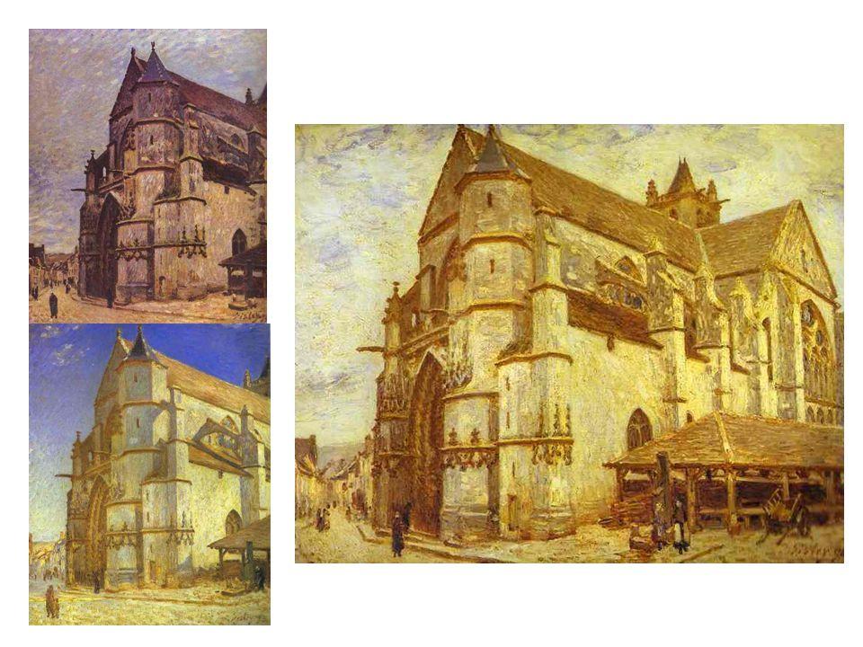 Kostel v Moret: největší Slunce, vpravo nahoře Zima, dole Jasný a slunečný den, taky ho maloval večer. Tady jasně navazuje na Moneta.