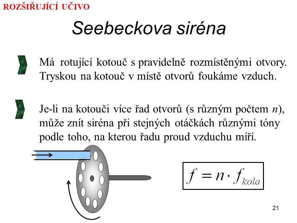 ROZŠIŘUJÍCÍ UČIVO Seebeckova siréna. Má rotující kotouč s pravidelně rozmístěnými otvory. Tryskou na kotouč v místě otvorů foukáme vzduch.