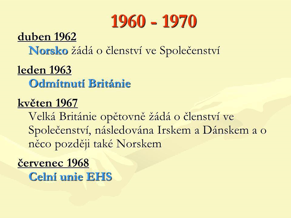 1960 - 1970 duben 1962 Norsko žádá o členství ve Společenství