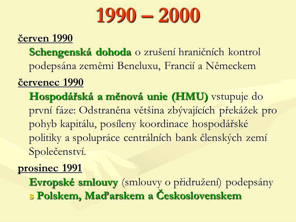 1990 – 2000 červen 1990 Schengenská dohoda o zrušení hraničních kontrol podepsána zeměmi Beneluxu, Francií a Německem.