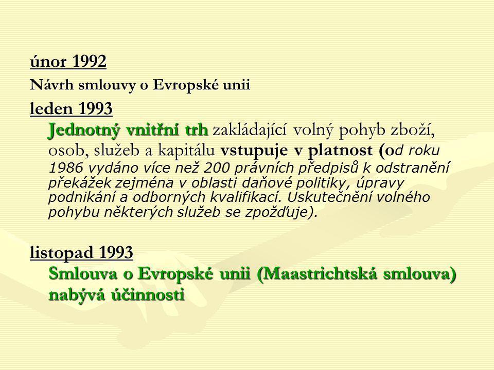 únor 1992 Návrh smlouvy o Evropské unii.