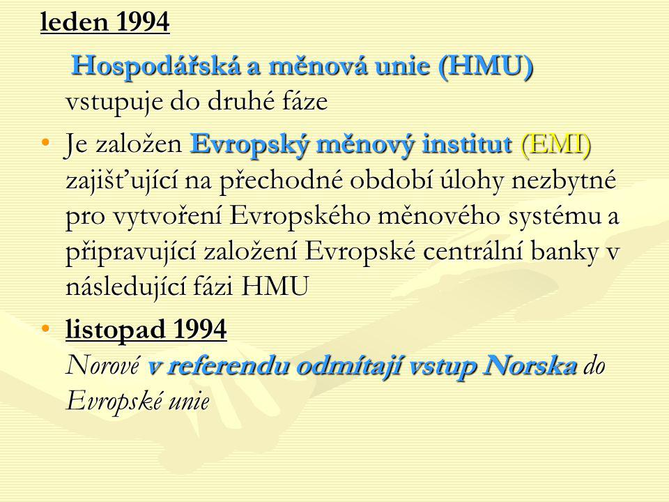 leden 1994 Hospodářská a měnová unie (HMU) vstupuje do druhé fáze.