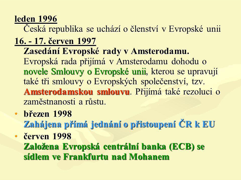 leden 1996 Česká republika se uchází o členství v Evropské unii