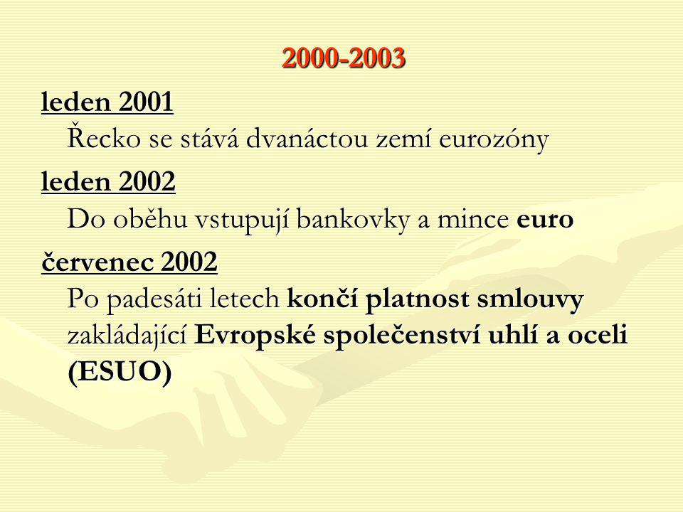2000-2003 leden 2001 Řecko se stává dvanáctou zemí eurozóny. leden 2002 Do oběhu vstupují bankovky a mince euro.