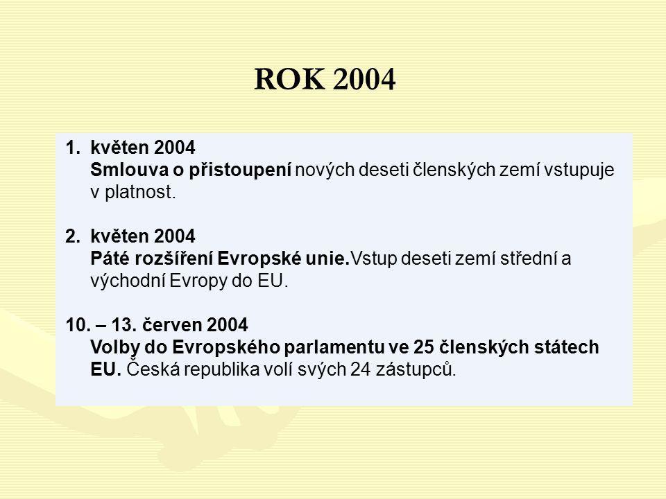 ROK 2004 květen 2004 Smlouva o přistoupení nových deseti členských zemí vstupuje v platnost.