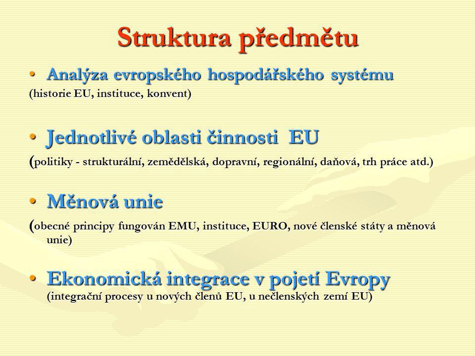 Struktura předmětu Jednotlivé oblasti činnosti EU Měnová unie