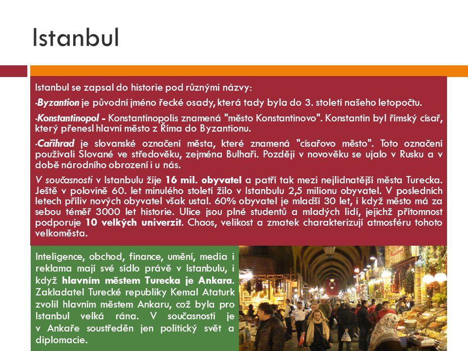 Istanbul Istanbul se zapsal do historie pod různými názvy: