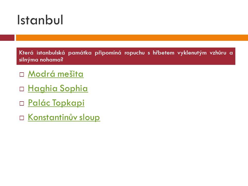 Istanbul Modrá mešita Haghia Sophia Palác Topkapi Konstantinův sloup