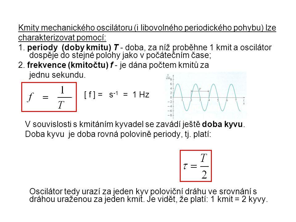 Kmity mechanického oscilátoru (i libovolného periodického pohybu) lze