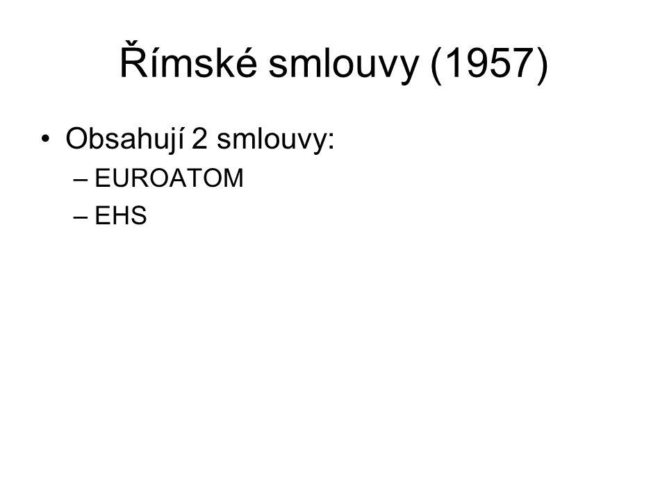 Římské smlouvy (1957) Obsahují 2 smlouvy: EUROATOM EHS