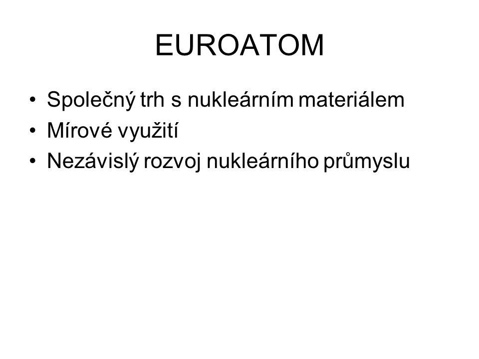 EUROATOM Společný trh s nukleárním materiálem Mírové využití