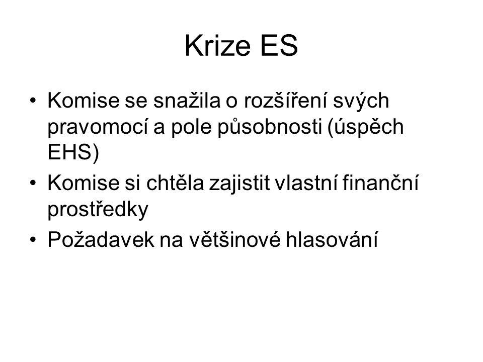 Krize ES Komise se snažila o rozšíření svých pravomocí a pole působnosti (úspěch EHS) Komise si chtěla zajistit vlastní finanční prostředky.