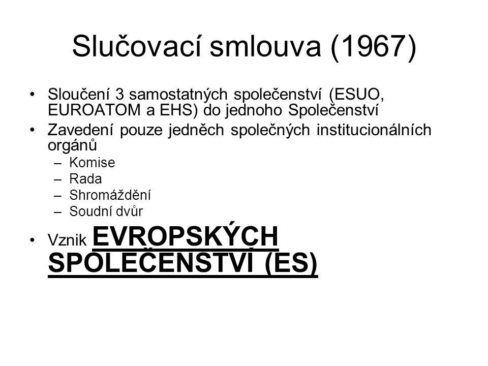 Slučovací smlouva (1967) Sloučení 3 samostatných společenství (ESUO, EUROATOM a EHS) do jednoho Společenství.