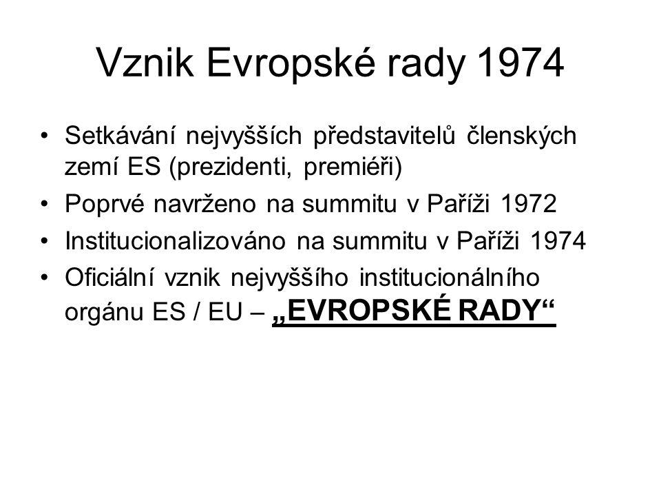 Vznik Evropské rady 1974 Setkávání nejvyšších představitelů členských zemí ES (prezidenti, premiéři)