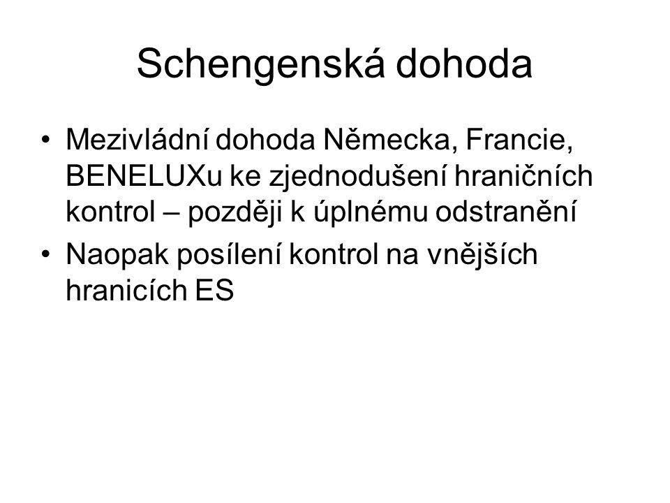 Schengenská dohoda Mezivládní dohoda Německa, Francie, BENELUXu ke zjednodušení hraničních kontrol – později k úplnému odstranění.