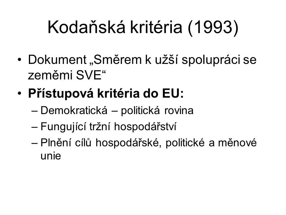 """Kodaňská kritéria (1993) Dokument """"Směrem k užší spolupráci se zeměmi SVE Přístupová kritéria do EU:"""