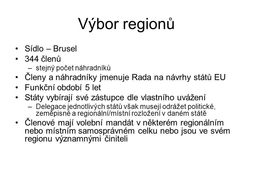 Výbor regionů Sídlo – Brusel 344 členů