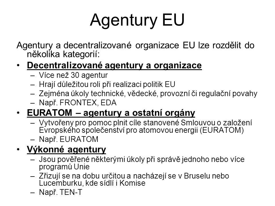 Agentury EU Agentury a decentralizované organizace EU lze rozdělit do několika kategorií: Decentralizované agentury a organizace.