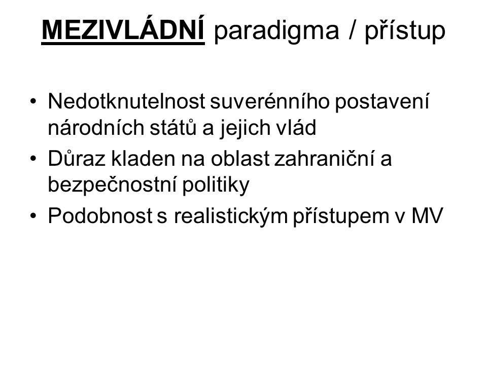 MEZIVLÁDNÍ paradigma / přístup
