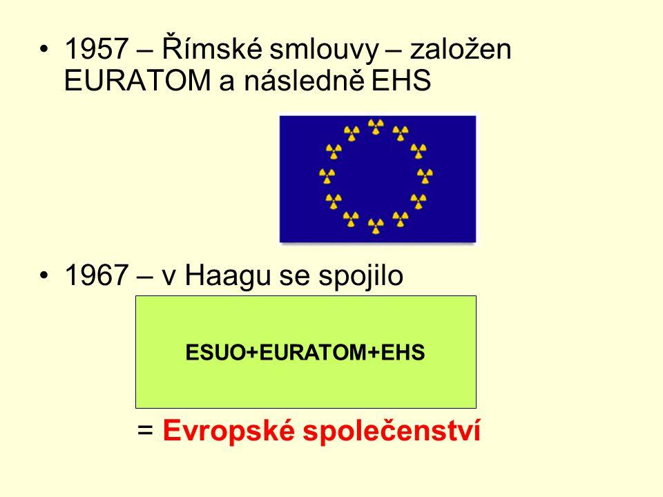 1957 – Římské smlouvy – založen EURATOM a následně EHS