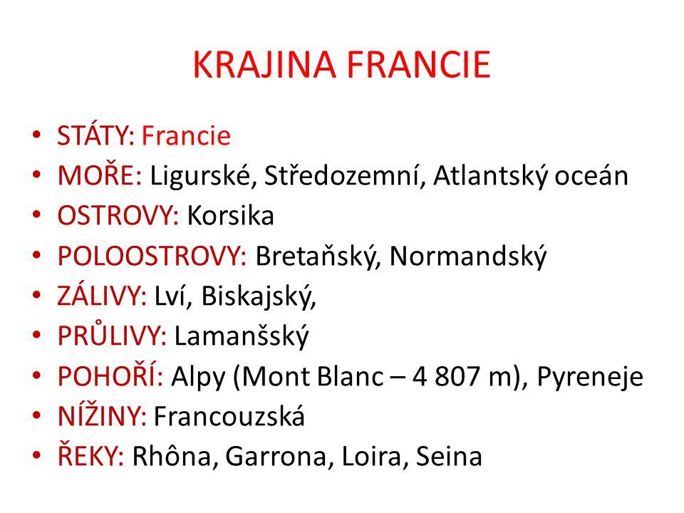 KRAJINA FRANCIE STÁTY: Francie
