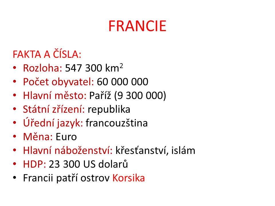 FRANCIE FAKTA A ČÍSLA: Rozloha: 547 300 km2 Počet obyvatel: 60 000 000