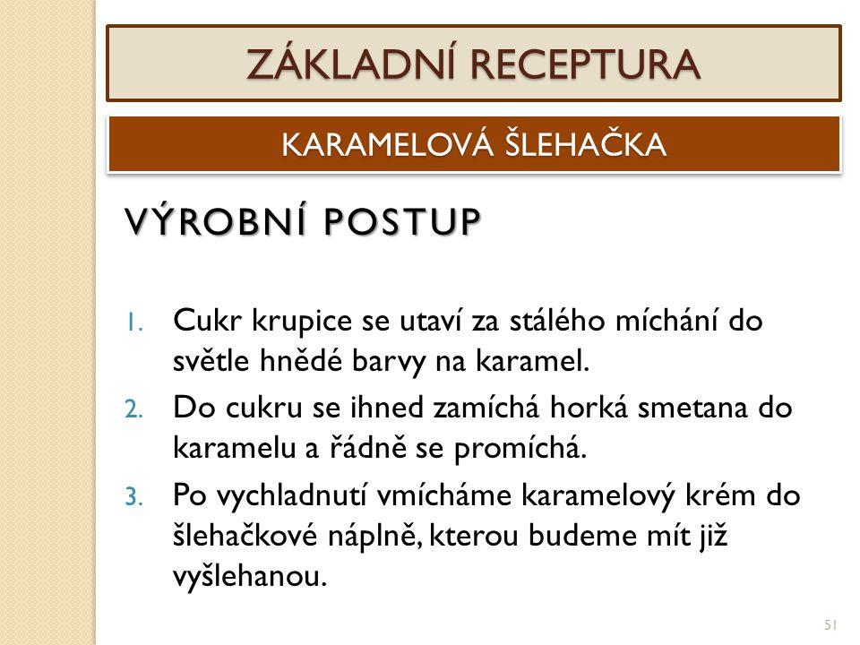 ZÁKLADNÍ RECEPTURA VÝROBNÍ POSTUP KARAMELOVÁ ŠLEHAČKA