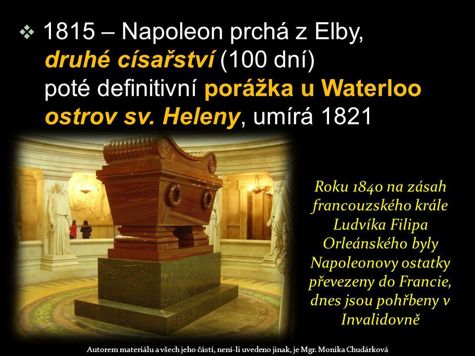 poté definitivní porážka u Waterloo ostrov sv. Heleny, umírá 1821