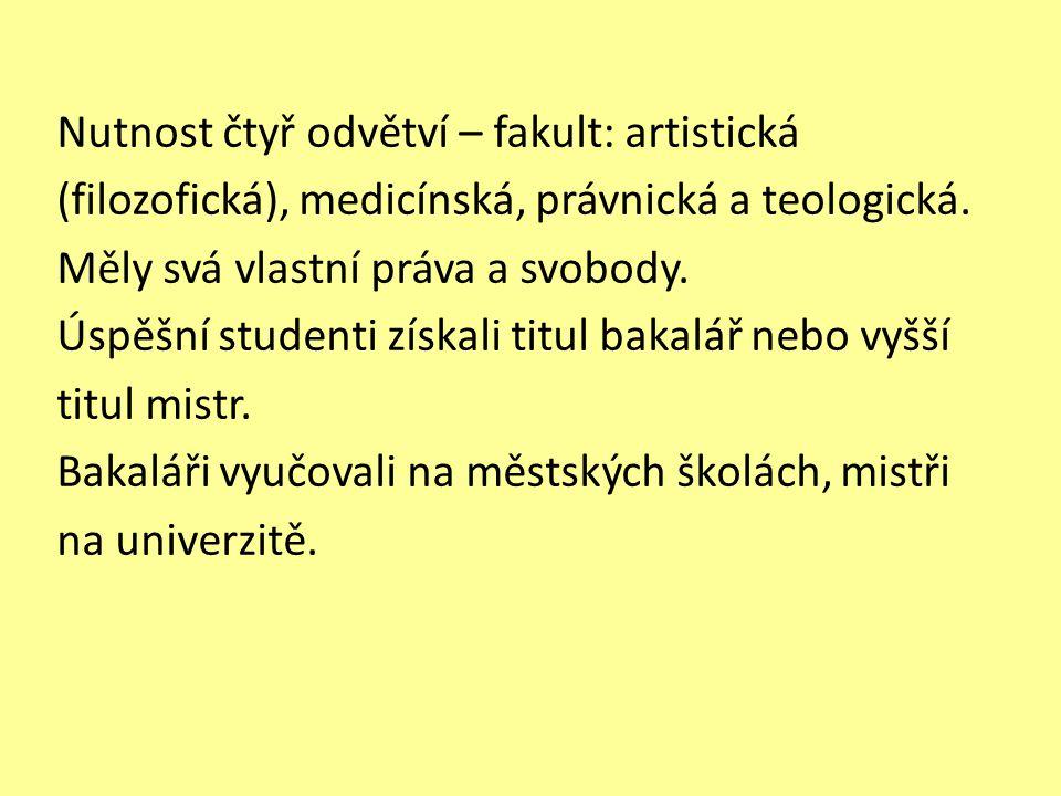 Nutnost čtyř odvětví – fakult: artistická (filozofická), medicínská, právnická a teologická.