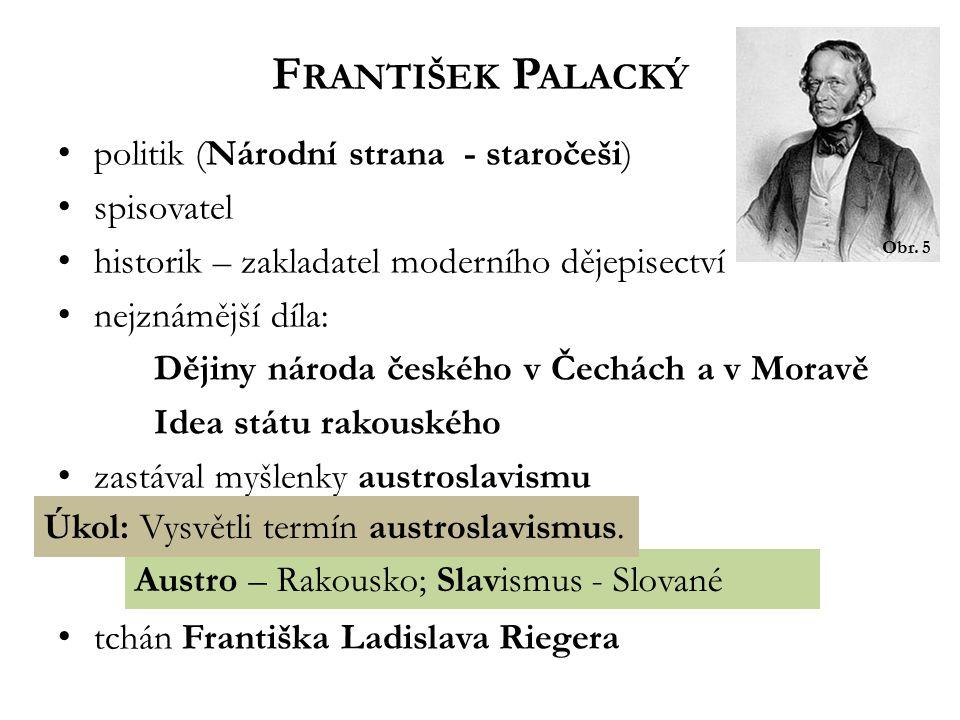 František Palacký politik (Národní strana - staročeši) spisovatel