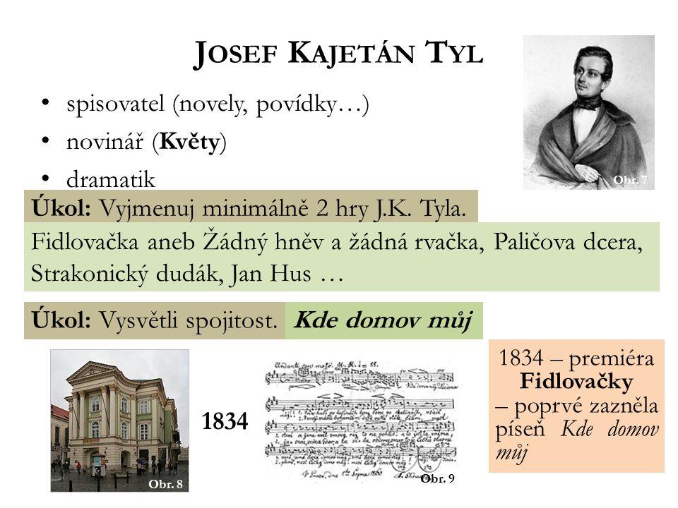 Josef Kajetán Tyl spisovatel (novely, povídky…) novinář (Květy)