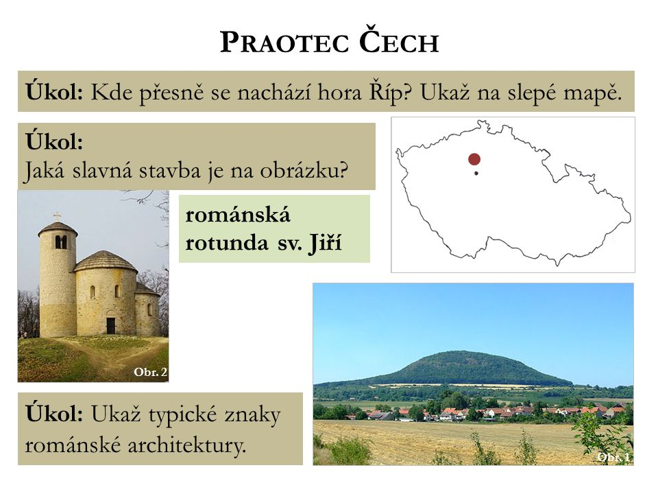 Praotec Čech Úkol: Kde přesně se nachází hora Říp Ukaž na slepé mapě.