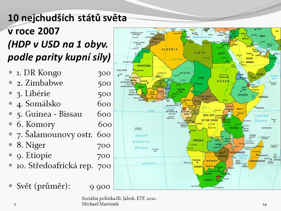 10 nejchudších států světa v roce 2007 (HDP v USD na 1 obyv