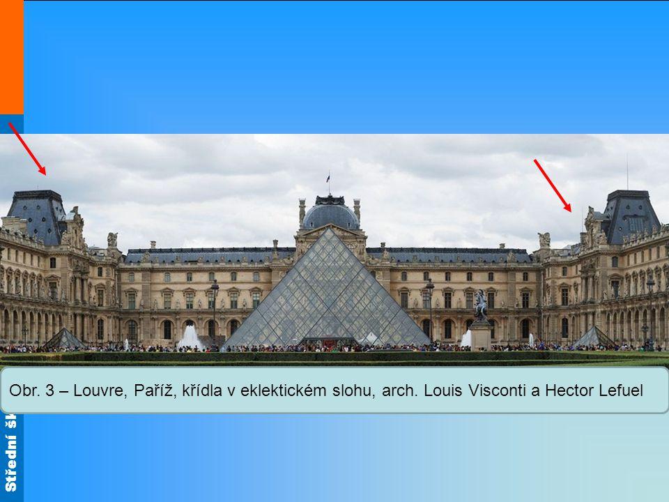 Obr. 3 – Louvre, Paříž, křídla v eklektickém slohu, arch