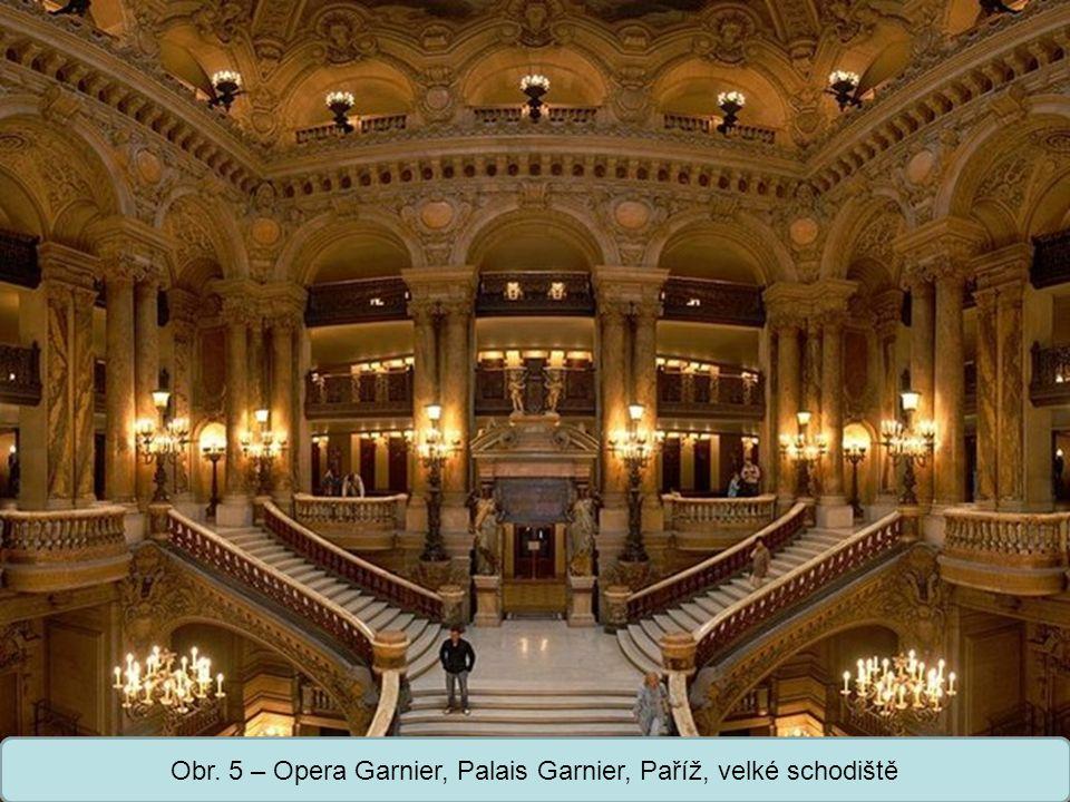 Obr. 5 – Opera Garnier, Palais Garnier, Paříž, velké schodiště