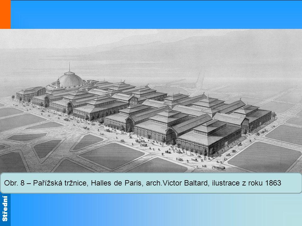12 pavilonů s kovovou konstrukcí a skleněnými střechami