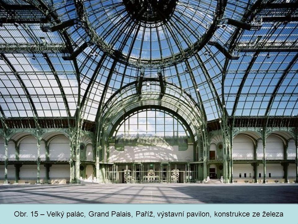 Obr. 15 – Velký palác, Grand Palais, Paříž, výstavní pavilon, konstrukce ze železa